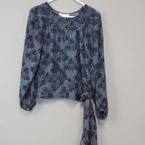 Michael Kors tie hem long sleeve chiffon blouse